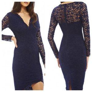 AX Paris Navy Blue Lace Faux Wrap Cocktail Dress